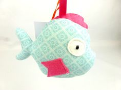 Handmade squeaky fish soft toy baby squeaky fish toy by FreyStitch, £5.00