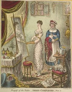 The role of lady's maid. Progress of the toilet by Gilray. Plate 3. Dress completed. c1810