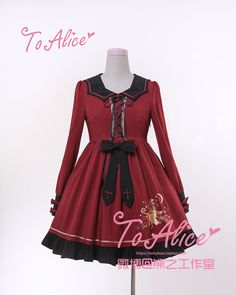 Tomy Bear -Little Witch- Gold Stamping Prints Long Sleeves Lolita OP Dress