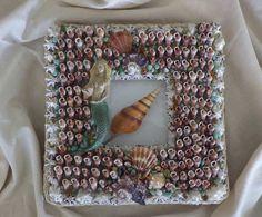 Framed Mermaid Shell Art 10 x 10 with nautical by ArtiseaShellArt, $225.00