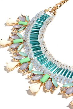 Beads and Love Turquoise Rhinestone Statement Necklace at Lulus.com!
