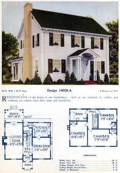 Mod The Sims - Vintage Home Design ~ Colonial Revival, in the Series Best House Plans, Modern House Plans, Colonial Revival Architecture, Architecture Design, American Home Design, Colonial House Plans, Dutch Colonial, Farmhouse Floor Plans, Home Design Floor Plans