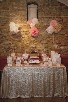 Pink and gold candy buffet on sequin linen with pom pom and pearl backdrop. Love the look of the hard background and the soft look of all the girly items against it. Gold Candy Buffet, Lolly Buffet, Candy Table, Dessert Table, Jasmin Party, Bar A Bonbon, Première Communion, Candy Bar Wedding, Wedding Table