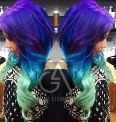 Purple green ombre dip dyed hair color
