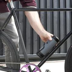 """Scosche boomBOTTLE - rechargeable Bluetooth speaker fits in your bike's water bottle cage and promises """"rich, deep"""" audio courtesy of dual drivers in each unit. The device also has an integrated passive subwoofer with a ported enclosure. Waterproof Bluetooth Speaker, Bluetooth Speakers, Portable Speakers, Mobile Speaker, Passive Subwoofer, Bike Water Bottle, Speaker Design, Home Cinemas, Gifts For Teens"""