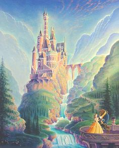 Favorite Disney Castle: The Beauty and the Beast castle. I love the beautiful woods and waterfalls surrounding it. I would love to have a room in one of the towers. The servants are funny and so sweet.THEY HAVE THE BEST LIBRARY EVER! Walt Disney, Disney Films, Disney And Dreamworks, Disney Cartoons, Disney Love, Disney Magic, Disney Pixar, Disney Posters, Disney Villains