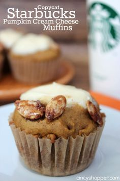 Copycat Starbucks Pumpkin Cream Cheese Muffin Recipe. Save $$'s and make your fall favorites at home. With pumpkin and cream cheese you just can not go wrong. Absolutely Delish!