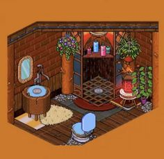 #Habbo #Build #Pixel #Virtual Habbo Hotel, Environmental Art, Traditional Art, Hanging Out, Pixel Art, Digital Art, House Design, Watercolor, Rustic