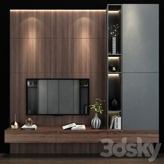3d models: TV Wall - TV wall set 142 Wall Panel Design, Tv Wall Design, Loft Design, Tv Cabinet Design, Living Room Partition Design, Living Room Tv Unit Designs, Room Partition Designs, Modern Tv Room, Modern Tv Wall Units