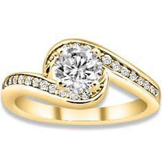 0.74 ctw 14k YG Natural H-I Color, SI Clarity, Accent Diamonds Engagement Ring
