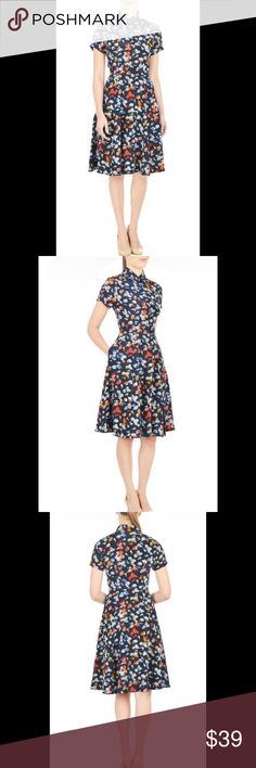 """New Eshakti Butterfly Print Fit & Flare Dress 10 New Eshakti butterfly print fit & flare shirt dress. Size 10 Measured flat: Underarm to underarm: 36"""" Waist: 31"""" Length: 44"""" """" Eshakti size chart for size 10 bust: 37"""" Pointed shirt collar, hidden front buttons, seamed waist. Back hidden zipper w/ 2 hook & eye closures on collar, flared box pleated skirt. Cuffed short sleeves, side seam pockets. Lined in polyester moss crepe. Polyester, woven crepe, no stretch. Machine wash. New w/ cut out…"""