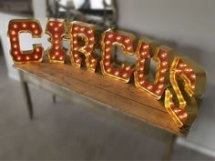 CIRCUS for Chris Bosh's 30th Birthday with GOLD Edging and Holywood Lights: Carnival Letters Light Up Letter Lamp for a Circus Room