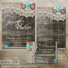 Rustic Lace Red and Turquoise Wedding Stationery - Wedding Invitation, rsvp card and particulars card-Digital Files on Etsy, $45.00