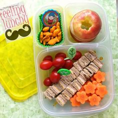 Apple, flower carrots, crackers & Sandwich bites packed in an Easy Lunch Boxes, Lunch Box Recipes, Bento Box Lunch, Lunch Snacks, Baby Food Recipes, Lunchbox Ideas, Cold Lunches, Whats For Lunch, Love Eat