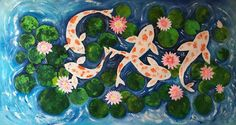 Buy Koi Fish and Water Lilies !! Large Painting ! Feng Shui !, Acrylic painting by Amita Dand on Artfinder. Discover thousands of other original paintings, prints, sculptures and photography from independent artists.