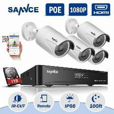 [ 48 $ OFF ] Sannce 4Ch 1080P Hdmi P2P Poe Nvr Surveillance System Video Output 4Pcs 3000Tvl 2.0Mp Ip Camera Home Security Cctv Kits 1Tb Hdd