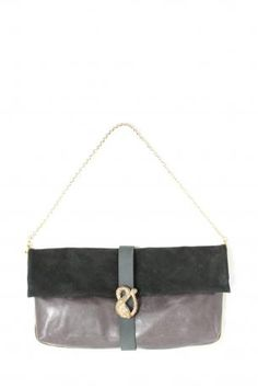 Pignarea bag - Ginevra. Grey leather and black suede shoulder bag / clutch hand bag, removable chain. Black nabuk leather bandage in the middle with snake jewel in front. Fully lined in emerald green, little open pocket inside. Pignarea Fall Winter Collection 2013-2014.  Height: 23 cm; width: 42 cm; depth: 5 cm. Chain lenght approx: 70 cm.