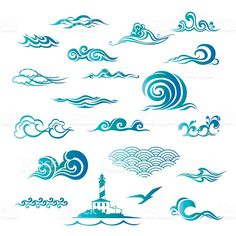 Big set with waves royalty-free stock vector art