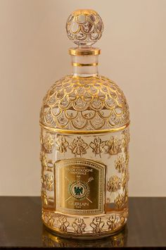Gold filigree cologne bottle ~ eau de cologne Imperiale ~ Guerlain
