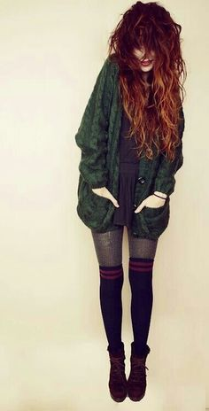 black mini-dress, oversized cardigan, nylon tights, knee-high socks