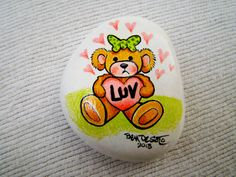Teddy Bear Love Paperweight  -  Hand Painted - One of a Kind