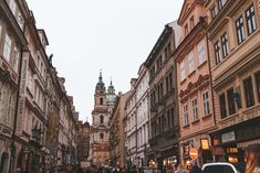 Beautiful street in Prague, Czech Republic. Find out how to travel Prague on a budget!