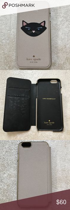 Kate Spade iPhone 6/6s folio phone case Kate Spade iPhone 6/6s folio phone case.  Only used for several months before changing phones.  Tan leather with black cat sewn on.  It has blue rhinestones for eyes and pink for nose.  Two slots inside for credit cards/license.  Two spots pictured where trim is peeling.  If you own Kate Spade you know this happens on the handles of their bags with wear. kate spade Accessories Phone Cases