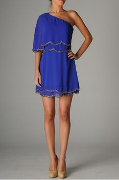 Royal blue dress.