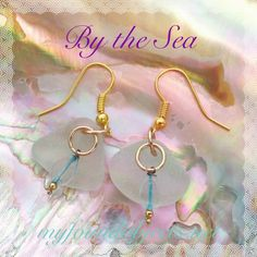 By the Sea, Sea glass and Found Object Sky Blue Charms Dangle Earrings by P. Quinn of My Found Objects #seaglassjewelry #seaglassearrings #handmadejewelry #handcraftedjewelry #bythesea #myfoundobjects