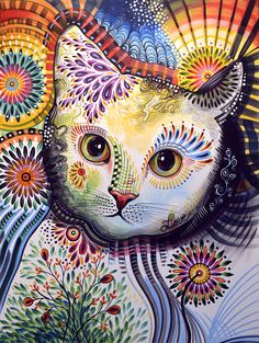 Abstract Cat Art Painting - Lucy ... Abstract Cat Art Fine Art Print