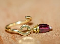 Handmade Wire Wrapped Genuine Amethyst Crystal Pierced 14 Gauge Belly Ring