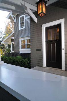 Grey House, White Trim, Black Door And Horizontal Door Windows. Exterior ...