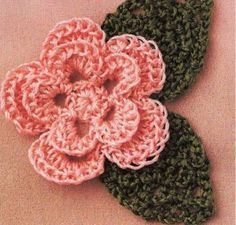 Crochet Flower and Leaves