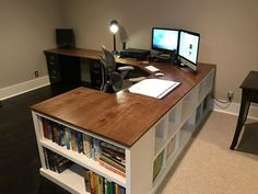 Farmhouse desk diy offices ana white 63 ideas for 2019 Diy Office Desk, Diy Computer Desk, Home Office Space, Home Office Desks, Diy Desk, Office Decor, Office Ideas, Corner Desk Diy, Ikea Desk