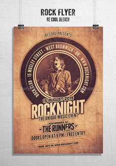 Rock Flyer/Poster — Photoshop PSD #music #poster • Available here → https://graphicriver.net/item/rock-flyerposter/10832757?ref=pxcr