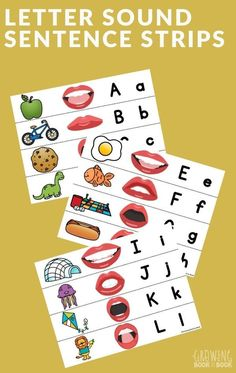 Use these free printable letter sound sentence strips in a pocket chart or as a floor activity to work on letters & sounds. #speech #alphabet #lettersounds #GrowingBookbyBook Printable Letters, Free Printable, Letter Recognition Games, Abc Chart, Teaching The Alphabet, Elementary Teaching, Sentence Strips, Letter A Crafts, Alphabet Activities
