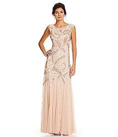 Adrianna Papell Beaded CapSleeve Gown #Dillards