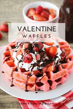 These pink velvet waffles are so fun for Valentine's Day, and so quick and easy to make! Who would love a delicious pink waffle to celebrate any romantic occasion. These waffles turn out soft and fluffy every time! via @somewhatsimple Savory Breakfast, Sweet Breakfast, Breakfast Smoothies, Breakfast Recipes, Dessert Recipes, Dinner Recipes, Yummy Treats, Delicious Desserts, Valentines Day Food