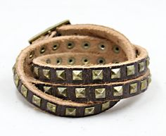 Punk  mens  Leather bracelets triple circlefriend by Emmajins, $10.99