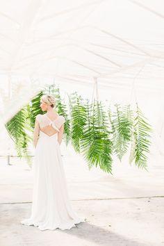 22 Fab Fern-Inspired Wedding Decor Ideas - Brit + Co Fern Wedding, Botanical Wedding, Mod Wedding, Wedding Ceremony, Wedding Gowns, Backdrop Decorations, Wedding Decorations, Backdrop Ideas, 21st Decorations