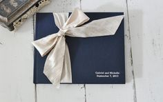 Navy and ivory guest book