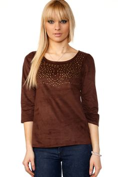 Studded Top Suedette Blouse @ Everything5pounds.com