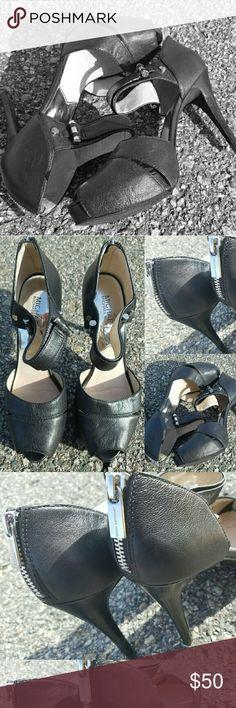 MK heels black peeptoe heels // silver hardware and heel zip, cutout design front hiding the platform  // gently worn once or twice, that's it! MICHAEL Michael Kors Shoes Heels