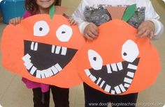 These turned out really cute!  I had pre-cut a bunch of teeth, eyes, the mouths, stems, and leaves.  They described what kind of pumpkin they wanted (tall and skinny, short and round, etc). Some could cut my tracings and I cut some others. Glued them onto big black construction paper.