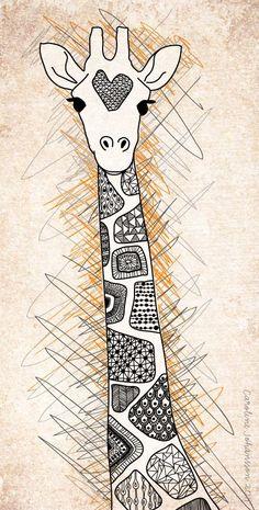 Zentangle-ish giraffe by caroline-johansson Doodle Drawings, Doodle Art, Doodles, Art Africain, Zentangle Patterns, Zentangles, Quilting Patterns, Zendoodle, Art Plastique