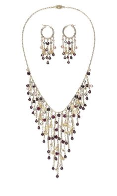 Single-Strand Necklace and Earring Set with Garnet and Citrine Gemstone Beads and Swarovski Crystal Beads and Pearls