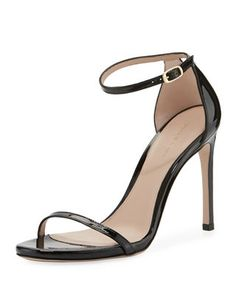 Traditional Gloss Sandal by Stuart Weitzman at Neiman Marcus Leather Sandals, Patent Leather, Crazy Shoes, Handbag Accessories, Stuart Weitzman, Neiman Marcus, Catwalk, Open Toe, Ankle Strap