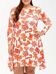 Gamiss Autumn Winter Plus Size L-4XL Dress Women 3 4 Length Sleeves  Christmas Print Graphic Swing Dress Casual Dresses Vestidos be09406b279e