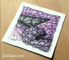 """Here's a super tip: when colorizing a drawing with colored pencils (""""colorizing"""" means only adding a hint of color, not really coloring the whole thing), use a little bit of a contrasting color to add interest. I used purple and magenta as the main colors and added a hint of pale salmon.    Learn how to shade Zentangle® with Eni Oken • enioken.com"""