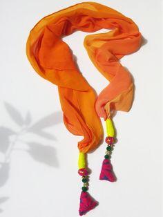 Handmade embroidered unique Tassel Orange Yellow by iThinkFashion, $25.00